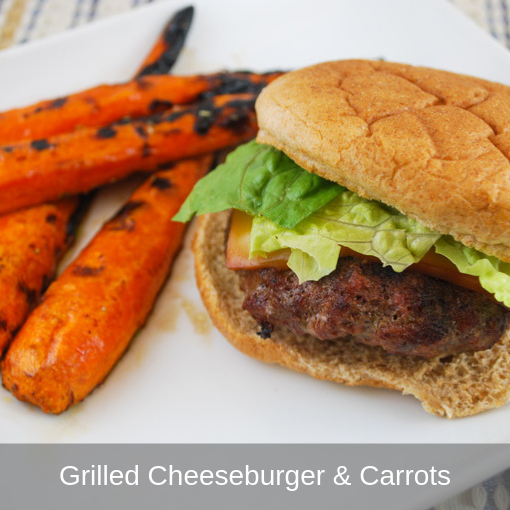 Grilled Cheeseburger and Carrots
