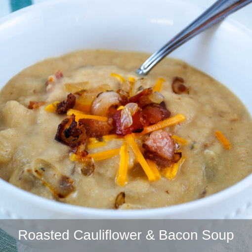Roasted Cauliflower and Bacon Soup